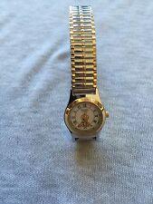 1996 Warner Bros Armitron Tweety Gold & Silver Tone Stretch Band Quartz Watch