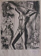 "LYNN KEATING AUSTRALIAN ETCHING ""ABSTRACT STANDING FEMALE NUDE"" 1997 LTD ED 1/1"