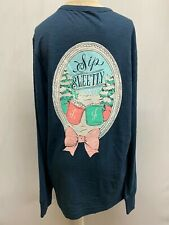 "New Lauren James Women's ""Sip Sweetly"" Long Sleeve T-Shirt, Navy, Medium"