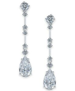 Shiny White 3.45CT Cubic Zirconia Modern & Simple Drop-Dangle Women's Earrings