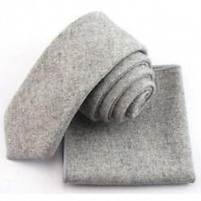New Vintage Grey Skinny Wool Tie & Pocket Square Set. Great Reviews. UK.