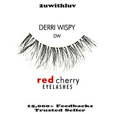 3 X Red Cherry 100 Human Hair Black False Eye Lashes #dw