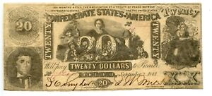 1861 $20       Counterfeit  Confederate Currency  CT-20