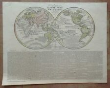 WORLDMAP DATED 1828 by VELTEN LARGE ANTIQUE ENGRAVED MAP 19TH CENTURY