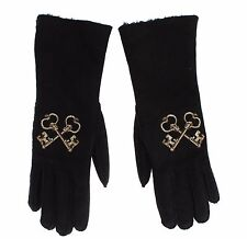 NWT $960 DOLCE & GABBANA Black Leather Fur Wrist GOLD KEYS Womens Gloves 7.5 /M