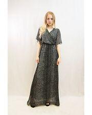 Lady Floral Leopard Print Chiffon Cross Front Cape Sleeves Wrap Maxi Dress
