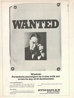 1972 Original Advertising' Ethiopian Airlines Company Aerial Wanted