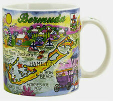 "BERMUDA MAP CARIBBEAN SOUVENIR COLLECTIBLE LARGE COFFEE MUG (4""H x 3.75""D) 16oz"