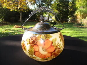 PEACH & CHOCOLATE ANEMOME ROSES ANTIQUE BRISTOL GLASS CRACKER BISCUIT JAR
