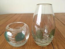 Pair Of Matching Contemporary Glass Bud Vases Seasonal Tree Scene Candle Holder