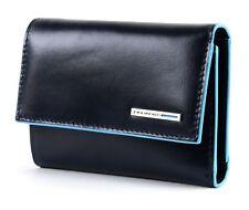PIQUADRO Blue Square Wallet With Flap Geldbörse Blu Notte Blau Neu