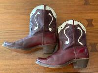 Vintage Wardolite 1940s Boys Cowboy Boots SIZE 4.5 Cordovan/White~Green Stitch