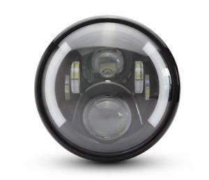 "Motorbike 7"" LED Headlight + Metal Casing 75W DRL + Indicator DOT E Approved"