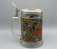 BMF Kristallglas Bierkrug mit Zinndeckel und Taverne Motiv 1970er Jahre
