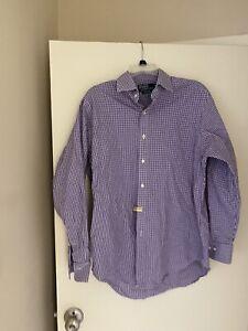 Poll Ralph Laruen Button Down Shirt (Large) Purple Check (size 16)
