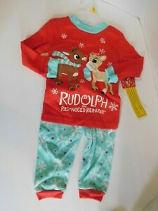 Rudolph Christmas Pajamas 12 Months Red Nose Reindeer
