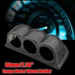 Carbon Fiber Look Universal 2.36'' Triple Hole Car Gauge Meter Dash Mount Holder