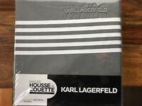 Karl Lagerfeld Design Bettwäsche Grau-Weiß 240 x 220 cm 100 % Baumwollsatin NEU