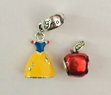 Snow White Charm Set Princess Dress And Red Apple Silver Plated
