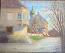 Adolf Mayer 1887 -1967 Marketplace Baviera? Märchenwolle con Chiesa Wer Bianca