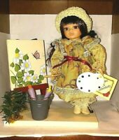 "Collectors Choice doll Bisque Porcelain Artist Doll 10"" Flowers Paint Easel"