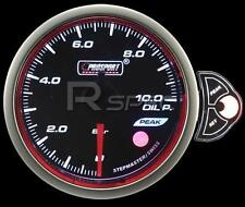 Prosport 52mm Smoked Stepper Motor Gauge Oil Pressure BAR White Blue Amber