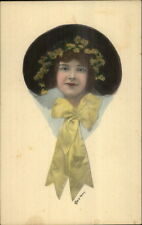 Young Woman Yellow Kerchief & Flowers in Hair CE Perry Hand Colored Postcard