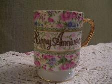 Shabby Floral Anniversary Mug/Teacup/Vintage Enesco Japan