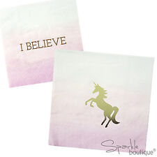 UNICORN NAPKINS - With 'I Believe' on the Reverse -Birthday Party- RANGE IN SHOP