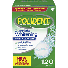 Polident Overnight Whitening Antibacterial Denture Cleanser Effervescent Tablets