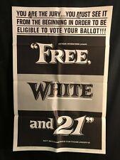 Free White & 21 1963 One Sheet Movie Poster Sexploitation Blaxploitation