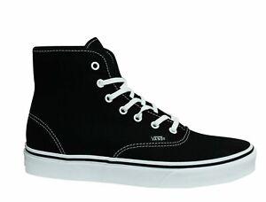 Vans Authentic Hi Top Canvas Black White Lace Up Skater Unisex Trainers RQF6BT