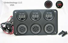 Three 12V Battery Bank Voltmeter Monitor Measures Low Charge State & Alarms