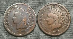 Lot Of 2 Indian Head Cent - 1870 & 1872
