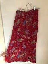 kathie lee collection Skirt 8 Maxi Red Paisley Floral Slits Lined A-Lined Slits