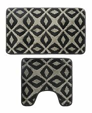 Microfiber 2 Pieces Rhombus Bathroom Bath Rug Pedestal Mat Set Black & Gray