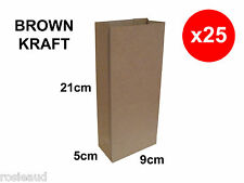 25 NEW BROWN KRAFT PAPER BAGS - LOLLY / PARTY / GIFTS / SHOPS ETC.