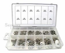 350pc 6 sizes Stainless Steel Washers Assortment Set w/ Flat + Spring/Lock Type