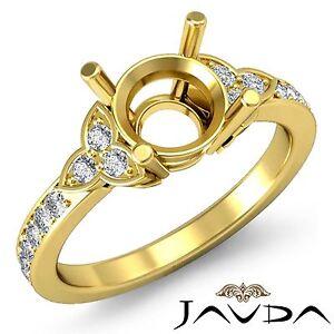 Round Diamond Engagement Ring 3 Stone Pave Set Semi Mount 18k Yellow Gold 0.25Ct