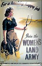 Women`s Land Army embossed steel sign 300mm x 200mm (hi)