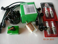 MG MIDGET 1500 TUNE UP KIT PLUG WIRES SPARK PLUGS LUCAS DISTRIBUTOR CAP ROTOR