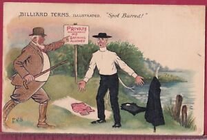 BILLIARD TERMS 1905 Raphael Tuck PERCY BRADSHAW Spot Barred VICAR SWIMMING