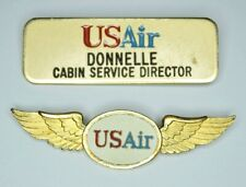 Vintage US AIR Airways Wings Flight Attendant Name Tag Cabin Service Director