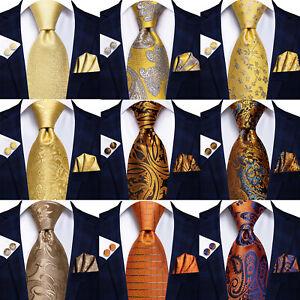 UK HT Silk Mens Ties Gold Orange Yellow Necktie Hankerchief Cufflinks Set Woven