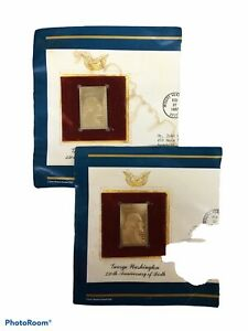 Lot of 2 George Washington 250 Anniversary Gold Replica to Actual 20 cent Stamp