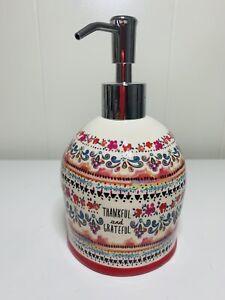 Natural Life Ceramic Thankful & Grateful Liquid Soap Dispenser Pump Bath Kitchen
