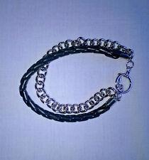 Fashion Silver Tone Large Link/Imitation Leather T Bar Bracelet, Unbranded, NWT