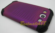 for samsung galaxy s3 purple black hybrid rugged dual layer case i9300 siii SIII