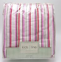 Girls Cottage Striped Full Bedskirt Dust Ruffle Pink White Red Cotton New