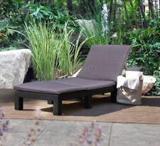 Chaises longues de jardin et de terrasse gris en tissu